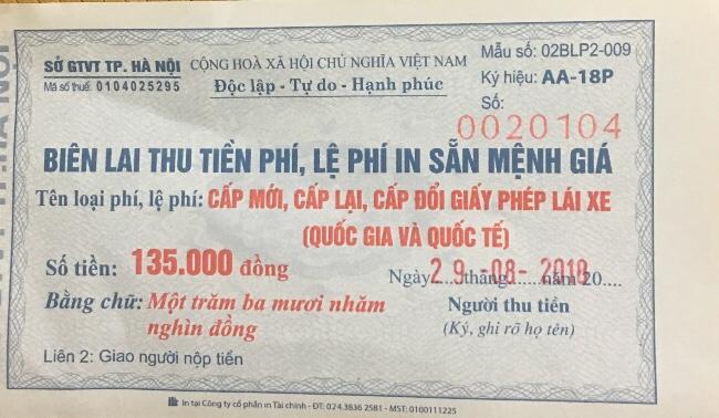 Biên lai thu tiền lệ phí phần in bằng