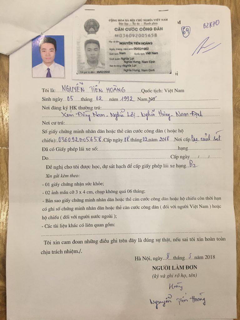 Tờ khai đơn xin thi bằng lái xe ô tô B2